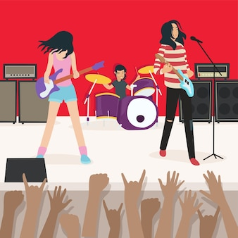 Illustration of a rock band performance with thousands of spectators