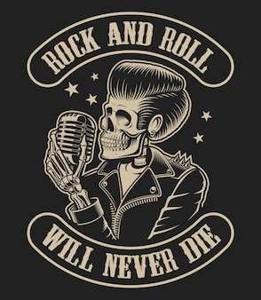 Illustration on a rock roll theme with a skeleton and a microphone on a dark background.