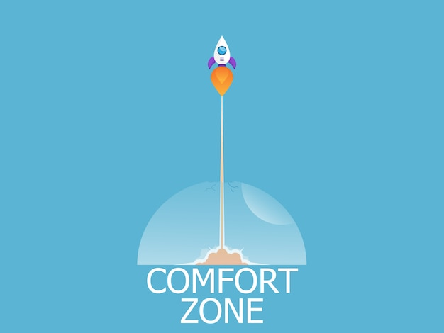 Illustration of rocket launch exit from comfort zone vector background