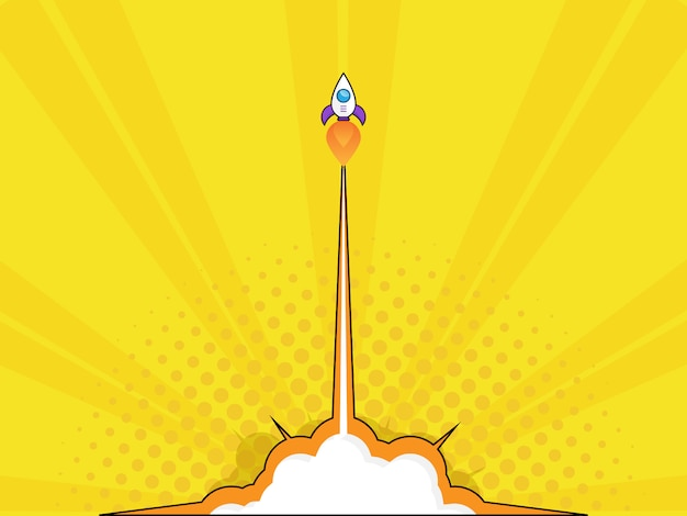 Illustration of rocket launch start up concept pop art, comic book vector background