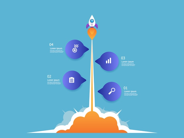 Illustration of rocket launcher business startup vertical timeline infographics 4 steps vector background