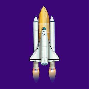 Illustration of rocket shuttle cartoon vector.