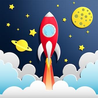 Illustration of rocket in space