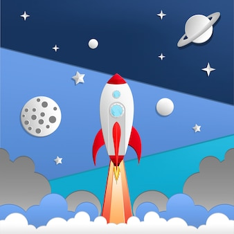 Illustration of rocket in space