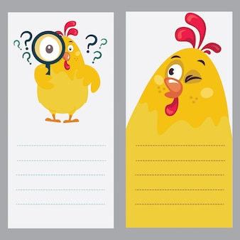 Illustration of a rooster as notebook