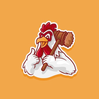 Illustration of rooster logo carrying a bat