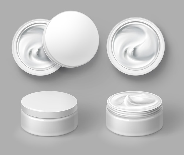 Illustration of round white cosmetic container with cream top and front view