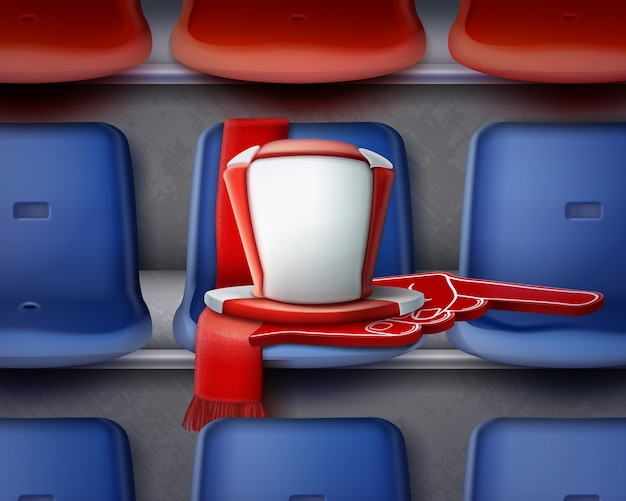 Illustration of row blue and red plastic chairs on the grandstand with attributes of fan