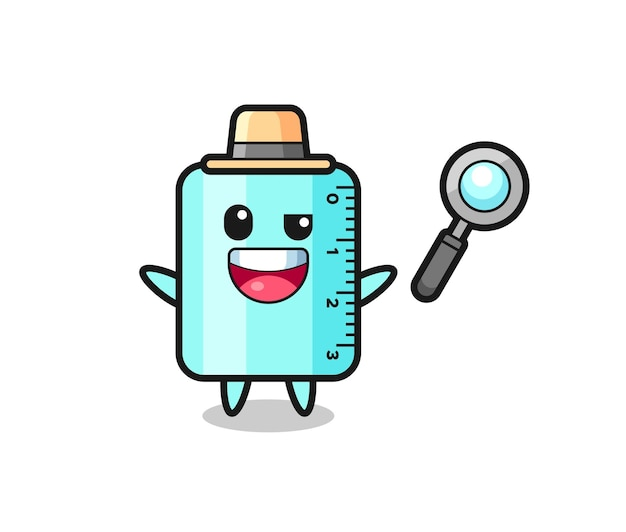 Illustration of the ruler mascot as a detective who manages to solve a case , cute style design for t shirt, sticker, logo element