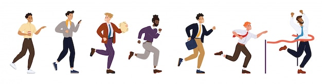 Illustration running businesspeople achieve