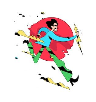 Illustration of a running evil guy