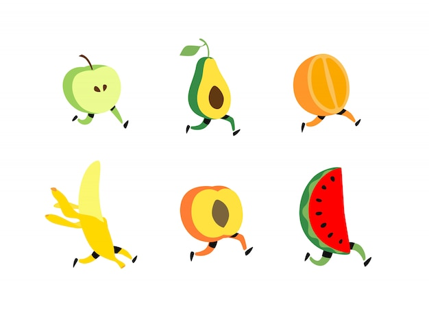 Illustration of running fruit.