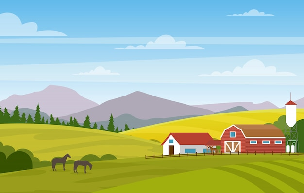 Illustration of rural landscape with farm. horses in summer fields and pastures. country landscape with mountains background.