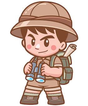 Illustration of safari boy holding binoculars