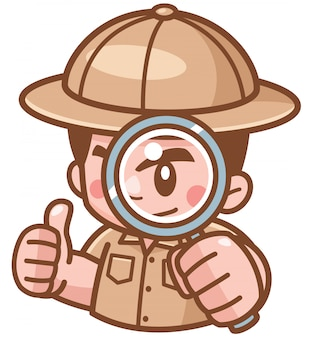 Illustration of safari boy with magnifying glass