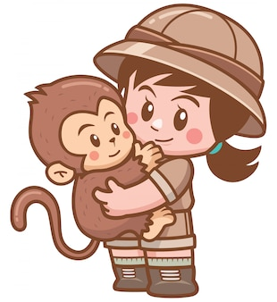 Illustration of safari girl hugging monkey