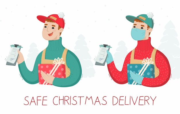Illustration of safe christmas delivery man masked