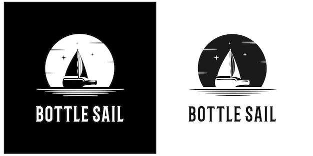 Illustration sail bottle logo premium vector
