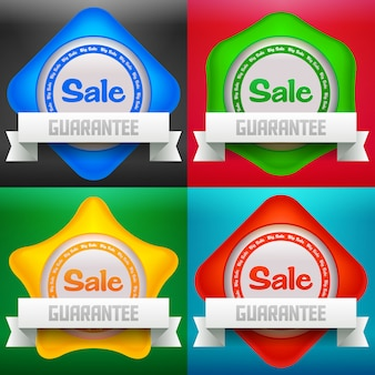 Illustration of sale icon set. transparent shadows.