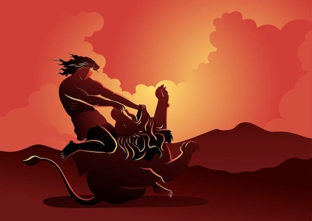 An illustration of samson fighting the lion, biblical series