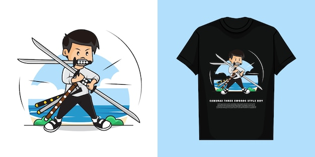 Illustration of samurai boy with three swords style and t-shirt mockup design