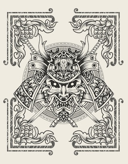 Illustration samurai head with engraving ornament flame