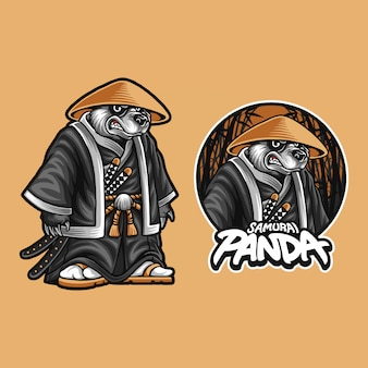 Illustration of samurai panda bear