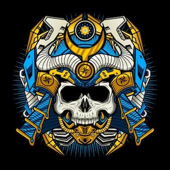 Illustration of samurai skull cyborg with war helmet detailed vector design