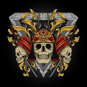 Illustration samurai skull engraving ornament