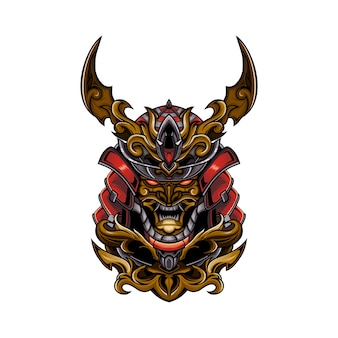 Illustration of a samurai skull head
