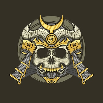 Illustration of samurai skull with helmet detailed