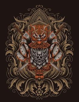 Иллюстрация самурайская голова кабана с гравировкой орнамента