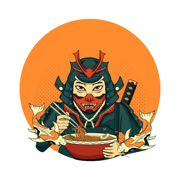 Illustration samurai with koi for tshirt design in white background