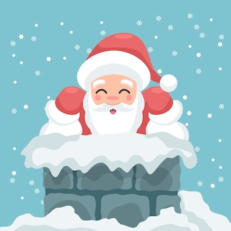 Illustration of santa claus in the chimney of a house