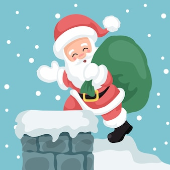Illustration of santa claus entering through the chimney of a house