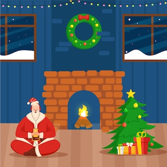 Illustration of santa claus listen to music from headphones on interior view decorated with xmas tree