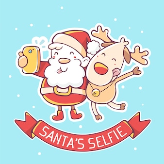 Illustration of santa claus and reindeer make selfie with red ribbon