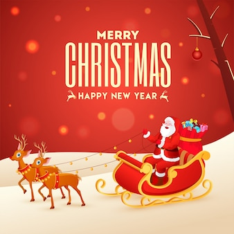 Illustration of santa claus riding reindeer sleigh on red bokeh and snowy  for merry christmas & happy new year celebration.