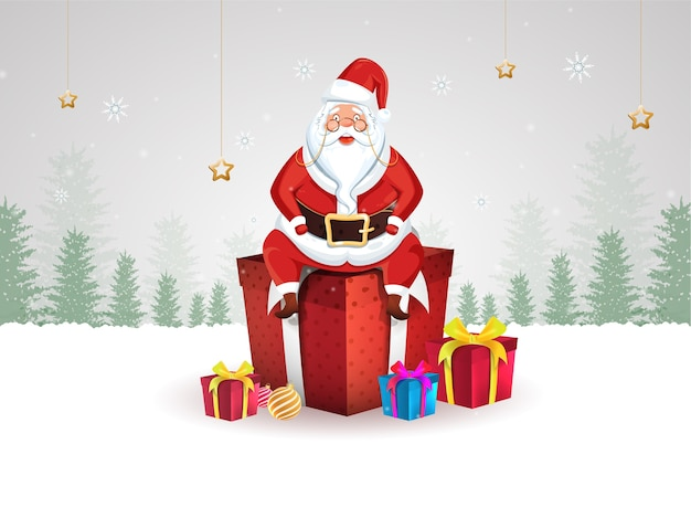 Illustration of santa claus sitting on 3d gift boxes with baubles and golden stars