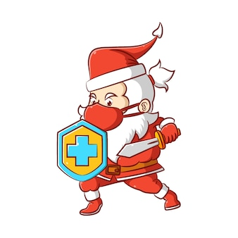 The illustration of the santa clause in holding the shield and the sword to protect the body from the virus