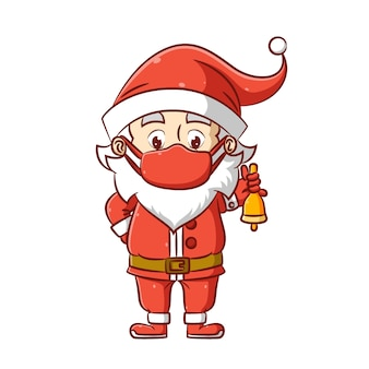The illustration of the santa clause is using the christmas hat and and mask and holding the bell for christmas
