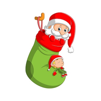 The illustration of the santa clause in out coming from the big green sock with the little elf sleeping on it