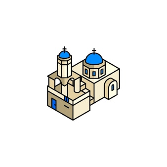 Illustration of santorini greece