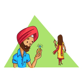 Illustration of sardar girl returning ring to her sardar boyfriend .