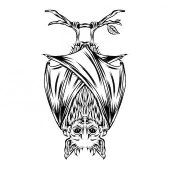 Иллюстрация напугать летучую мышь иллюстрации повесить на ветке