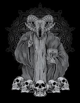 Иллюстрация страшный череп бафомета на гравировке орнамента
