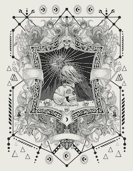 Иллюстрация страшная ворона птица на старинном гравировальном орнаменте