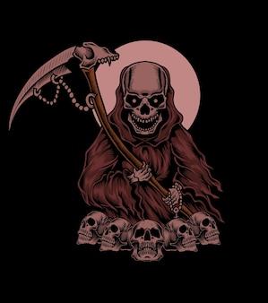 Иллюстрация страшный ангел смерти на черном фоне Premium векторы