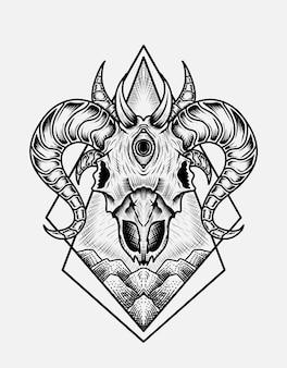 イラスト怖いヤギの頭蓋骨