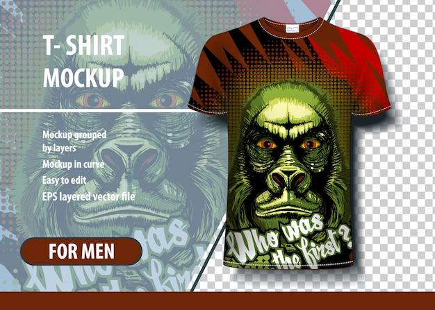 Illustration of scary gorilla for t-shirt design